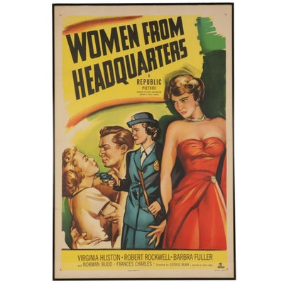 """Framed """"Women From Headquarters"""" One-Sheet Movie Poster, 1950"""