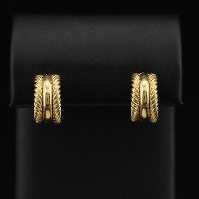 David Yurman 18K Cable Huggie Earrings