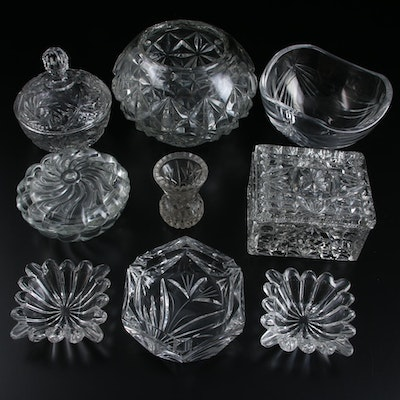 Clear Pressed Glass Box and Other Tableware, Mid to Late 20th Century