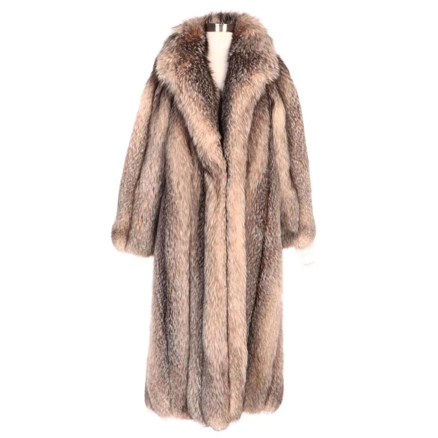 Full Skin Crystal Fox Fur Coat by Alixandre Furs