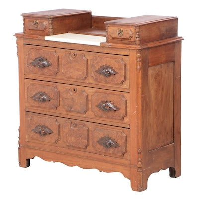 Victorian Burl Walnut and Marble Top Chest of Drawers, Late 19th Century