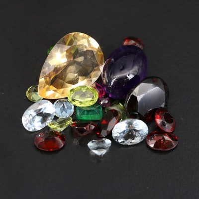 Loose 36.08 CTW Faceted Gemstone Selection Including Citrines and Garnets