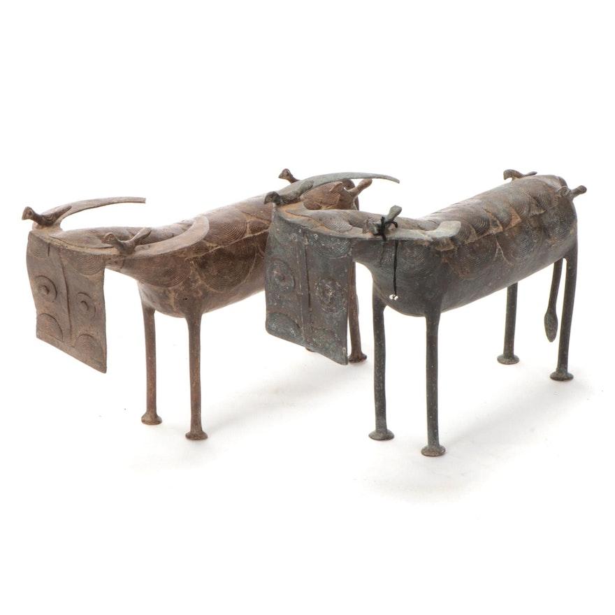 West African Brass Cattle Sculptures
