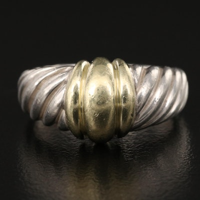 David Yurman Sterling Cable Ring with 14K Accent