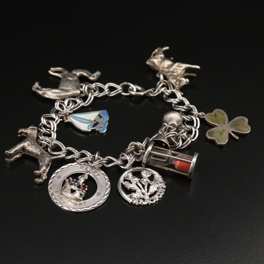Vintage Sterling Gemstone Charm Bracelet with Assorted Charms