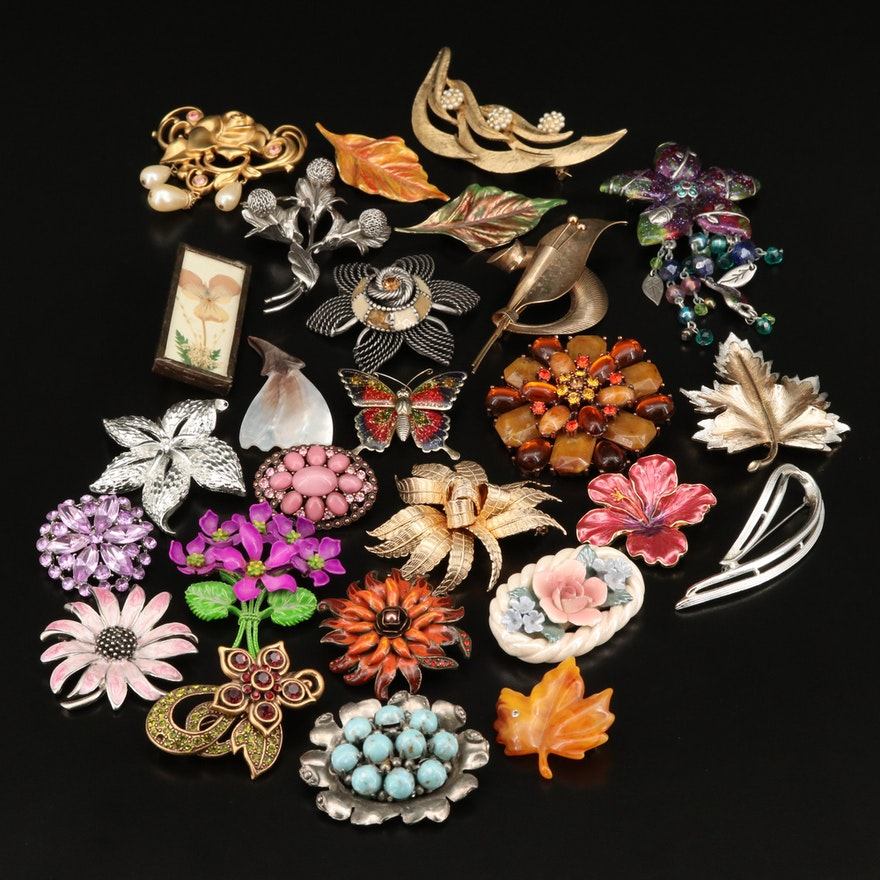 Vintage Pressed Flower, Butterfly and Nature Themed Brooches