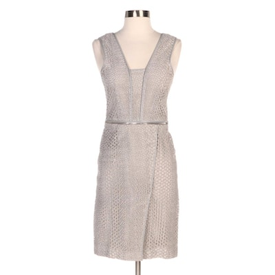 Yigal Azrouël Gray Eyelet Lace Cocktail Dress with Lambskin Trim and Zip Detail
