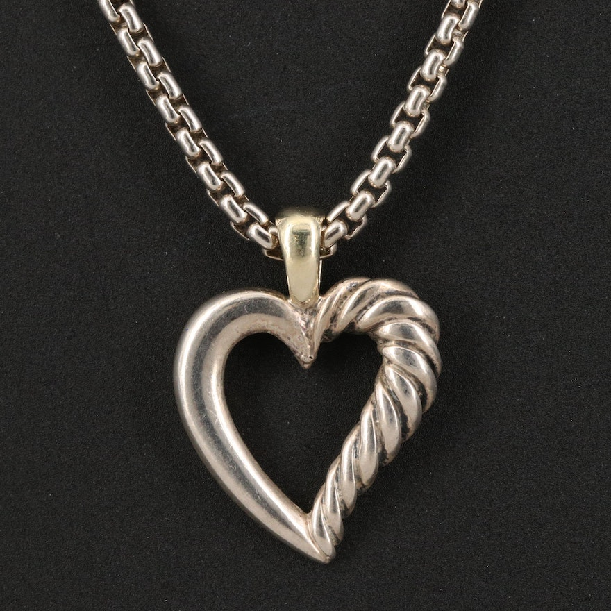 David Yurman Sterling Silver Heart Pendant Necklace with 14K Accents