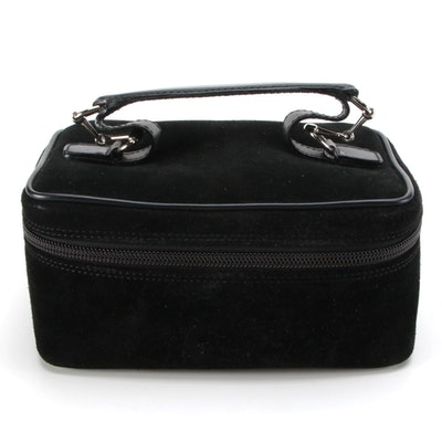 Gucci Accessory Pouch in Black Suede and Leather