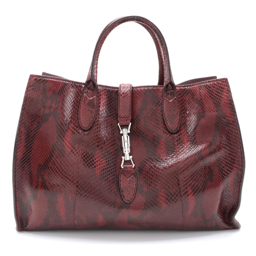 Gucci Jackie Soft Tote in Bordeaux Python Skin