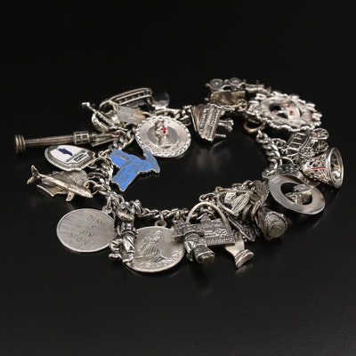 Vintage Travel Themed Charm Bracelet with Sterling Charms