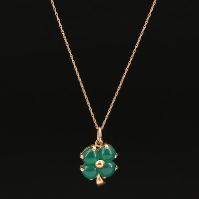 14K Chalcedony Four Leaf Clover Pendant on 10K Singapore Chain Necklace