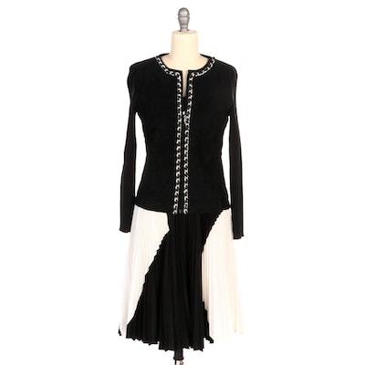 Proenza Schouler Color Block Dress and Escapade Black Suede Jacket
