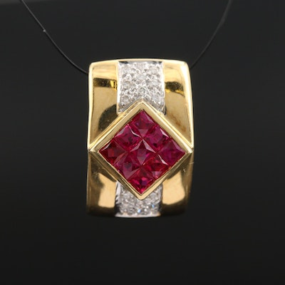 18K Ruby and Diamond Slide Pendant