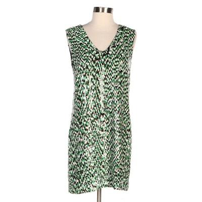 """Diane von Furstenberg Jacky """"Tweed Sequins"""" Mod Style Shift Dress"""