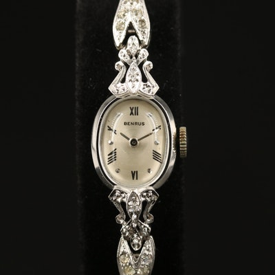 Vintage Benrus 14K Gold and Diamond Stem Wind Wristwatch