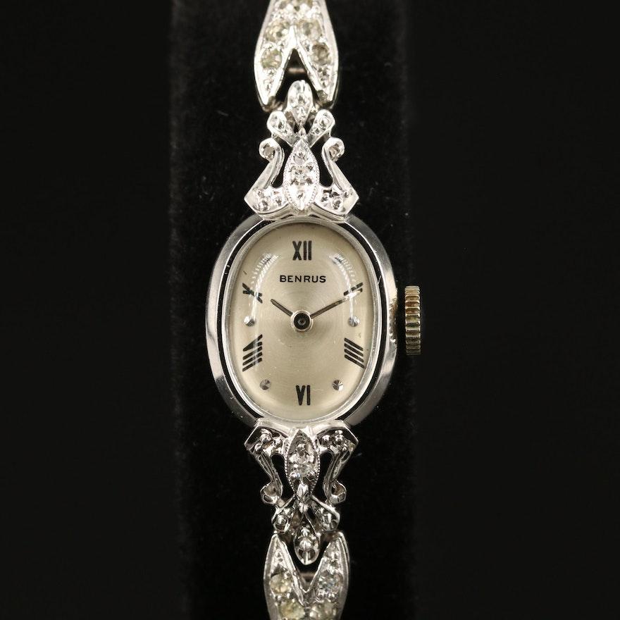 Vintage Benrus 14K Gold and Diamond Stem Wind Wristwatch