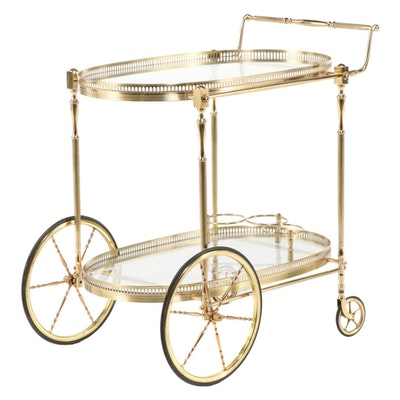 Hollywood Regency Style Brass Bar Cart, Late 20th Century