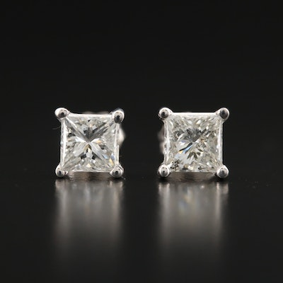 18K 1.18 CTW Princess Cut Diamond Stud Earrings with GIA Diamond Dossiers