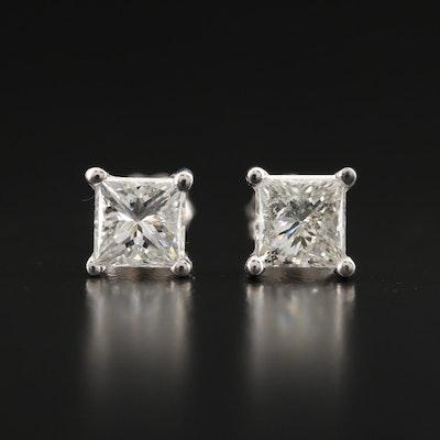 18K 1.18 CTW Princess Cut Diamond Stud Earrings with GIA Diamond Dossiers