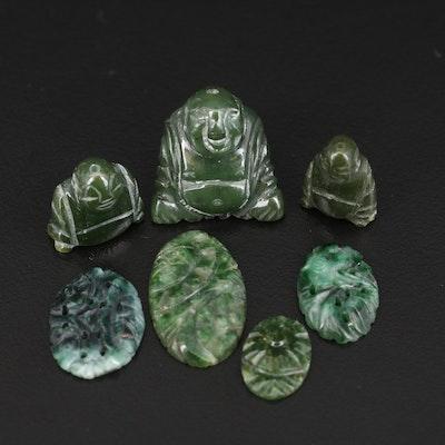 Loose Carved Gemstones Including Jadeite, Nephrite and Connemara Marble