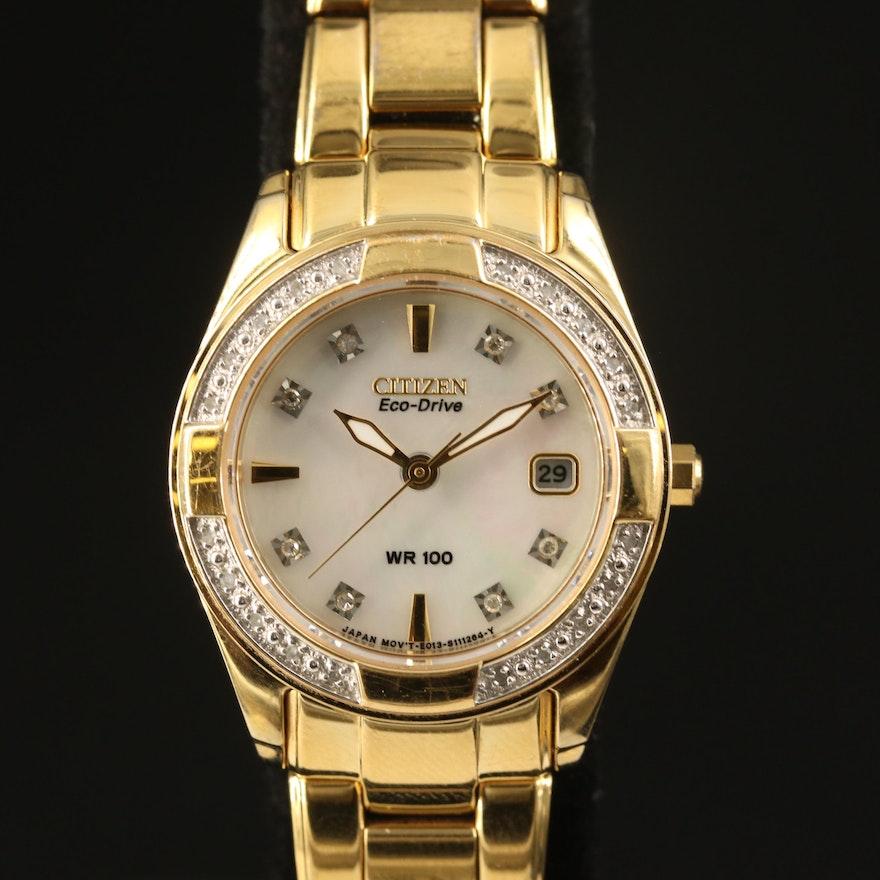 Citizen Eco-Drive Diamond and Mother of Pearl Gold Tone Quartz Wristwatch