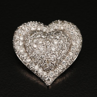 14K 1.50 CTW Pavé Diamond Heart Slide Pendant