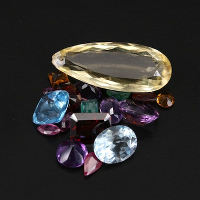 Loose Mixed Gemstones Included Citrine, Ruby and Amethyst