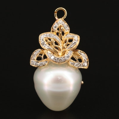 18K Pearl and Diamond Pendant