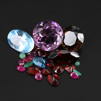 Loose Mixed Gemstone Including Garnet, Amethyst and Ruby