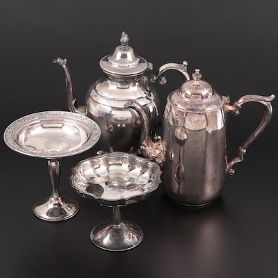 Wm. Rogers and Sheriden Silver Plate Coffee Pots with Silver Plate Compotes