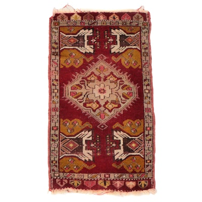 1'8 x 3'2 Hand-Knotted Turkish Kırşehir Wool Yastik Accent Rug