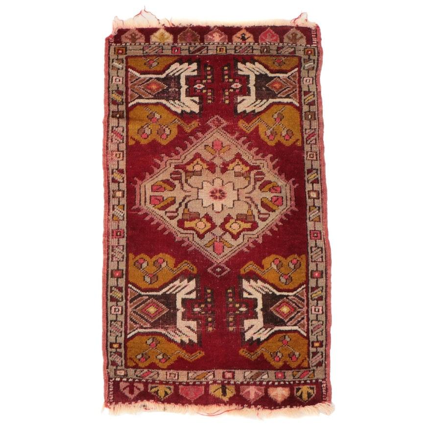 1'8 x 3'2 Hand-Knotted Turkish Kırşehir Wool Yastik Accent Rug