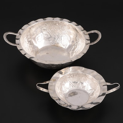 Mexican Sterling Silver and 800 Silver Serving Bowls