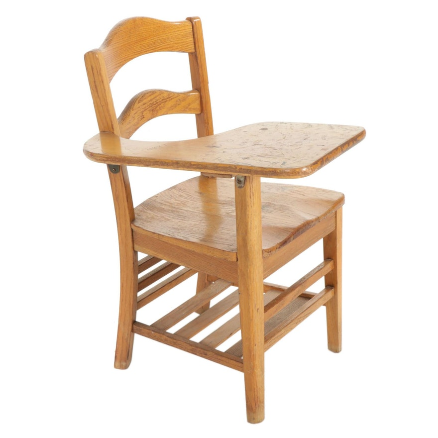 Oak Classroom Desk Writing Chair, Mid to Late 20th Century