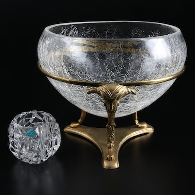 """Tiffany & Co. """"Rock Cut"""" Crystal Candle Holder and Other Centerpiece Bowl"""