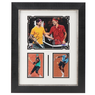 Roger Federer and Rafael Nadal Signed Framed Tennis Photo Print, COA
