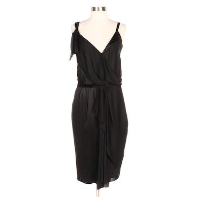 Nina Ricci Draped Black Polyester and Silk Flounce Dress