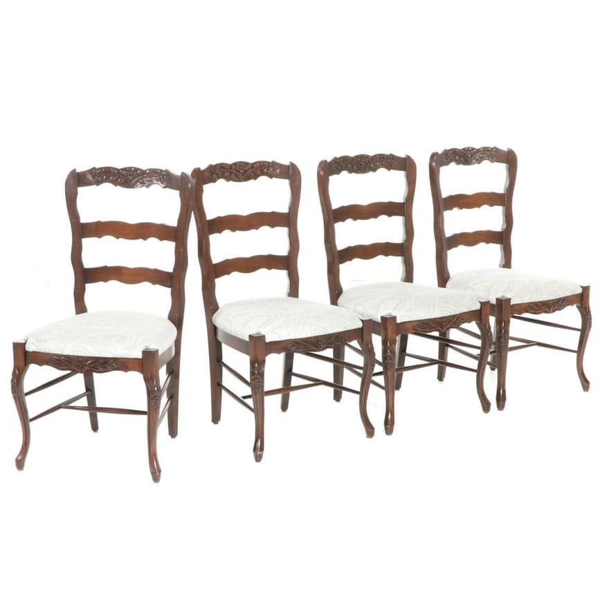 Set of Four French Provincial Style Upholstered Wooden Dining Chairs