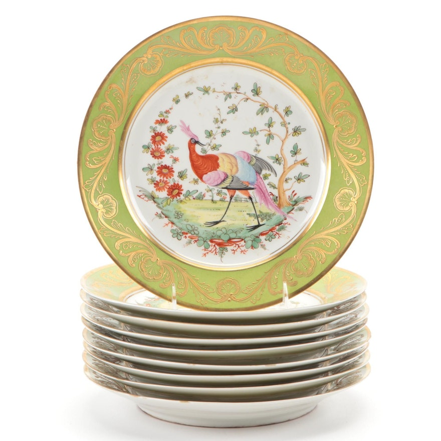 Edmé Samson et Cie Hand-Painted Chelsea Style Porcelain Cabinet Plates