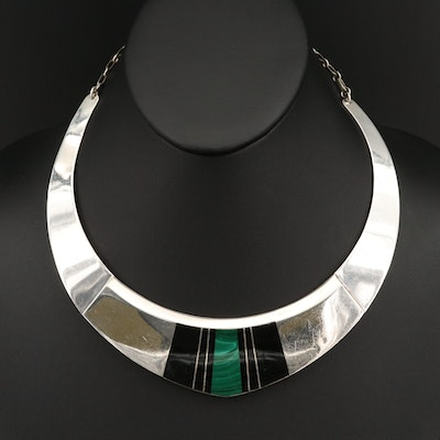 Chad Hoskie Navajo Diné Sterling Black Onyx and Malachite Inlay Necklace