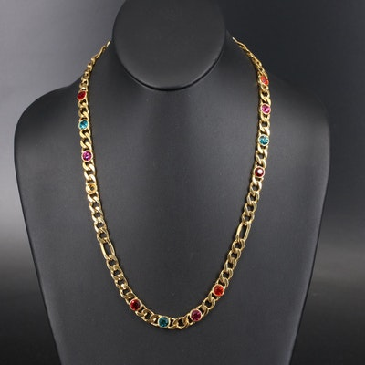 Rhinestone Figaro Chain Necklace