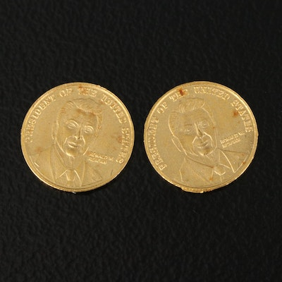 Two 24K Miniature Ronald Reagan Commemorative Coins