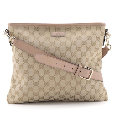 Gucci Flat Messenger Bag in GG Canvas with Pink Leather Trim