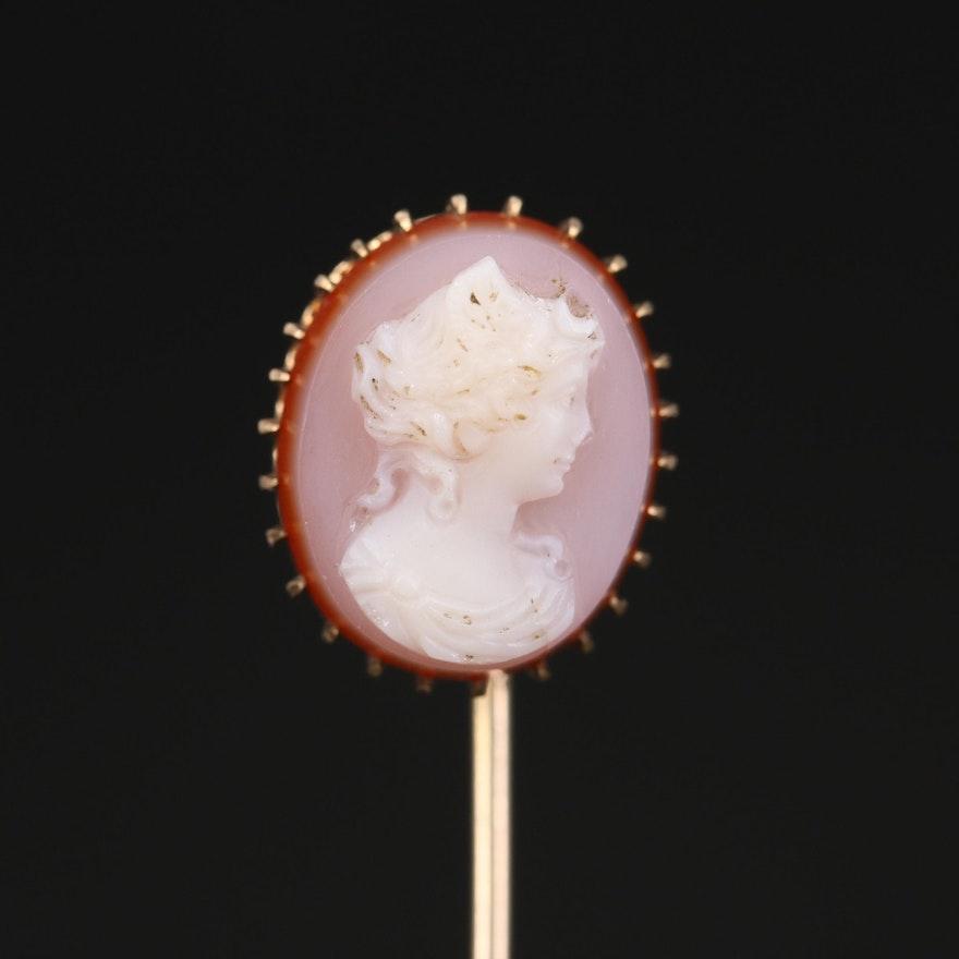 Antique 10K Agate Cameo Stick Pin
