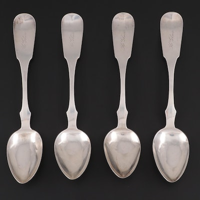 Jas. T. Scott & Co. Coin Silver Fiddle Handle Serving Spoons, Mid-19th Century