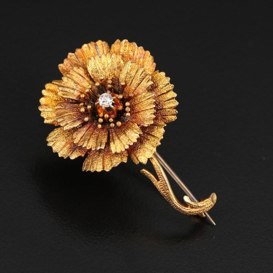 14K Diamond Flower Brooch