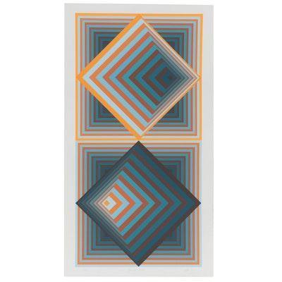 "Jurgen Peters Op Art Serigraph ""Pyramidal Contrast,"" 1981"