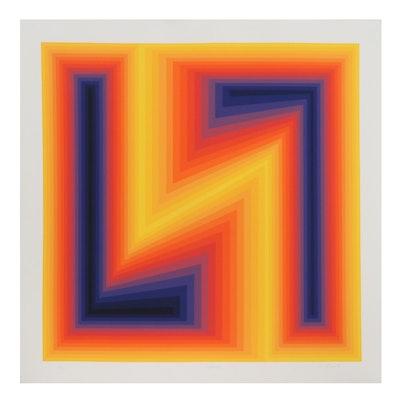 """Jurgen Peters Op Art Serigraph """"Lightning,"""" 1978"""