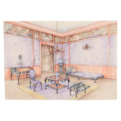 Manuel Lopez Watercolor Painting of Interior Living Space, Early 20th Century